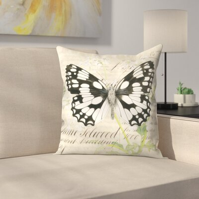 Marbledwhite Cow Parsley Throw Pillow Size: 20 x 20