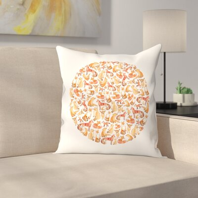 Elena ONeill Fox Circle Throw Pillow Size: 14 x 14