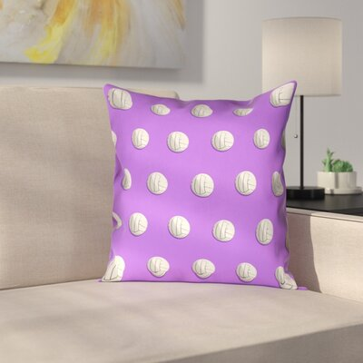 Volleyball Suede Pillow Cover Size: 16 x 16, Color: Purple