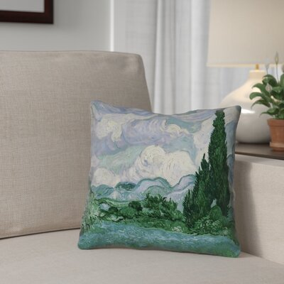 Meredosia Wheat Field with Cypresses Faux Linen Throw Pillow Color: Green/Blue, Size: 14 H x 14 W