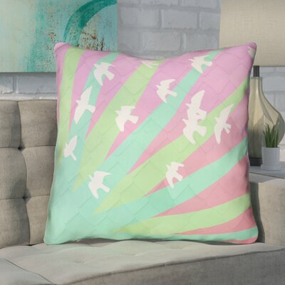 Enciso Birds and Sun Throw Pillow with Zipper Color: Green/Pink, Size: 16 x 16