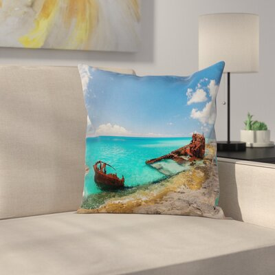 Nautical Ship Wreck on Beach Square Pillow Cover Size: 18 x 18