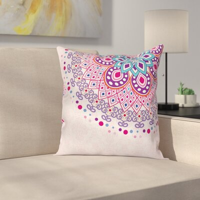 Mandala India Ornamental Figure Cushion Pillow Cover Size: 18 x 18