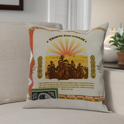 Warriner Cigar Box Front Geometric Print Indoor/Outdoor Throw Pillow Color: Orange, Size: 18