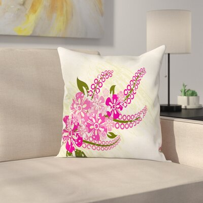 Pink Flower Pillow Cover Size: 16 x 16