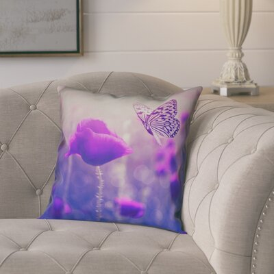 Mariani Butterfly and Rose 100% Cotton Pillow Cover Color: Purple, Size: 16 H x 16 W