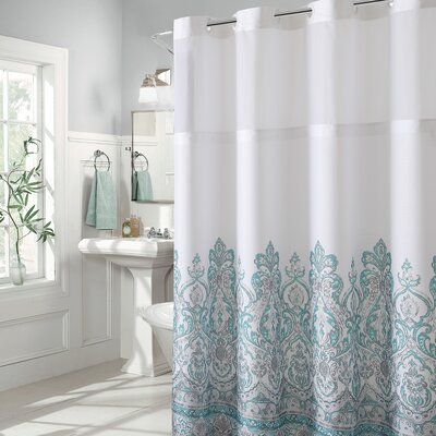 Pilning Damask Border Print Shower Curtain Color: Teal