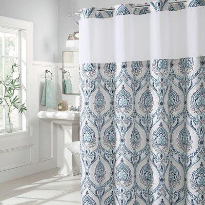 Pilsen French Damask Shower Curtain Color: Aqua/Gray