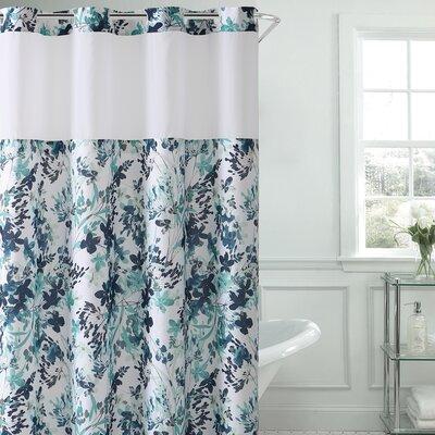 Pimentel Floral Shower Curtain Color: Aqua