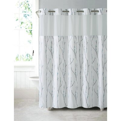 Fiore Cherry Bloom Shower Curtain Color: White Blue