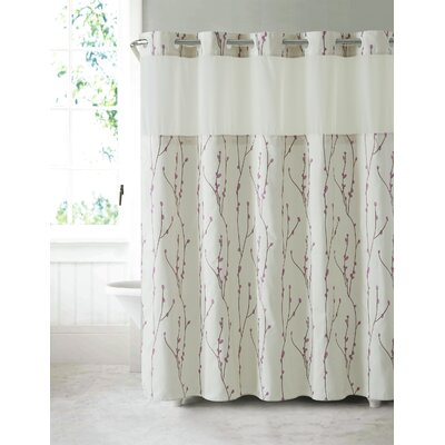 Fiore Cherry Bloom Shower Curtain Color: Pearl Taupe