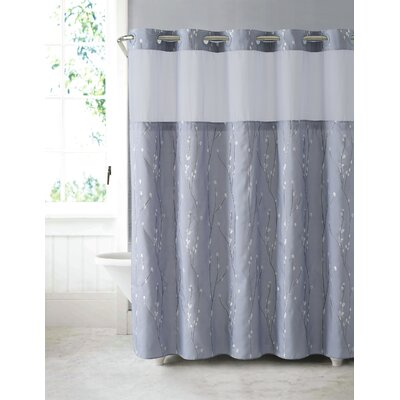 Fiore Cherry Bloom Shower Curtain Color: Purple Gray