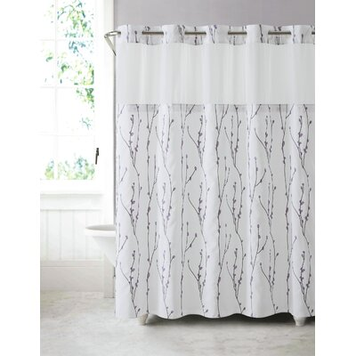 Fiore Cherry Bloom Shower Curtain Color: White Lilac