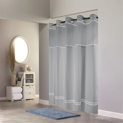 Humes Shower Curtain Color: White/Brown