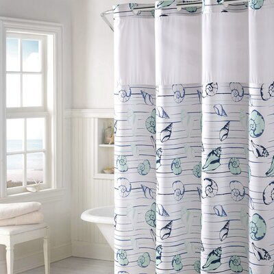 Hedgewick Seashell Stripe Print Shower Curtain Color: Aqua