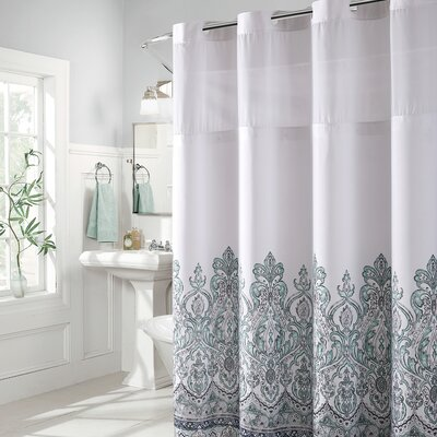 Pilning Damask Border Print Shower Curtain Color: Blue/Gray