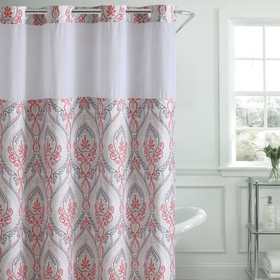 Pilsen French Damask Shower Curtain Color: Coral