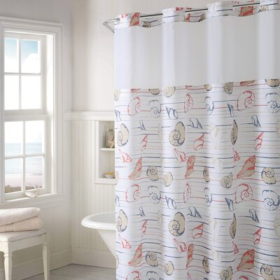 Hedgewick Seashell Stripe Print Shower Curtain Color: Coral