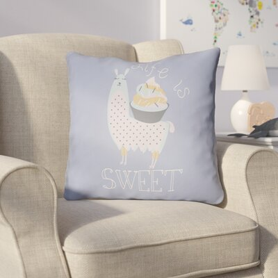 Colinda Life Is Sweet Throw Pillow Size: 18 H x 18 W x 4 D, Color: Light Blue