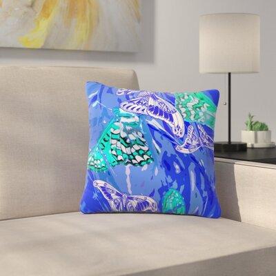 Butterflies Party by Vikki Salmela Outdoor Throw Pillow Color: Blue