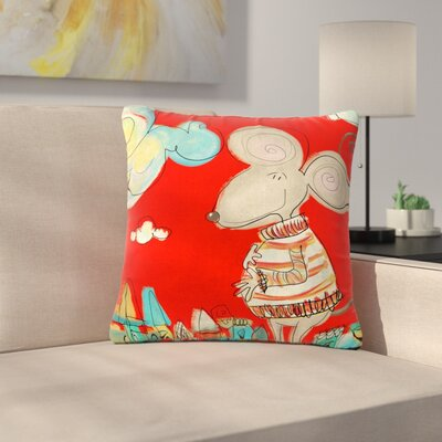 Carina Povarchik Urban Mouse Outdoor Throw Pillow Color: Red, Size: 16