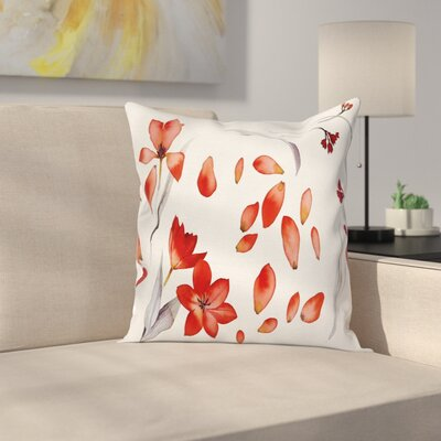 Autumn Flowers Petals Square Pillow Cover Size: 24 x 24