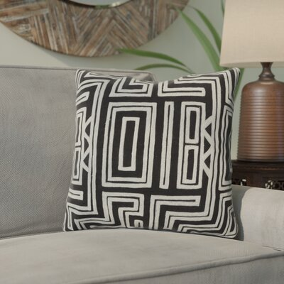 Haysville Mesmerizing Maze Throw Pillow Size: 22 H x 22 W, Color: Caviar / Papyrus, Filler: Down