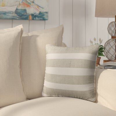 Melton Burlap Indoor/Outdoor Throw Pillow Size: 18 H x 18 W x 5 D, Color: Tan/ White
