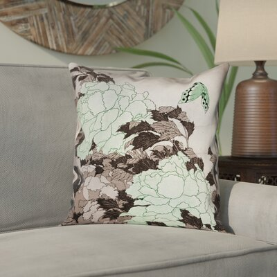 Clair Peonies with Butterfly Square 100% Cotton Pillow Cover Color: Green, Size: 14 x 14