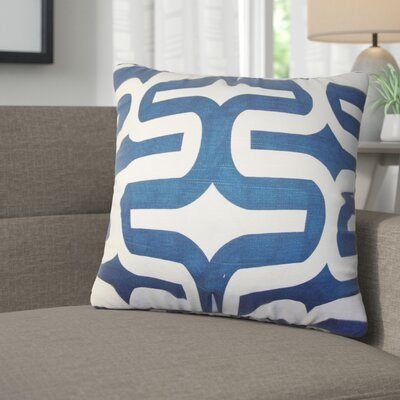 Angeline Geometric Square Cotton Throw Pillow Color: Navy Blue