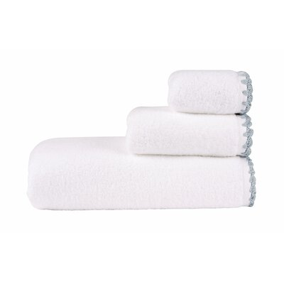 Bath Towel (Set of 2) Color: White/Spa Blue