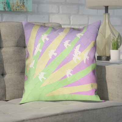 Enciso Modern Birds and Sun Pillow Cover Color: Green/Yellow/Purple, Size: 14 H x 14 W