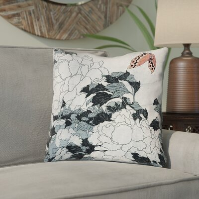 Clair Peonies with Butterfly Square Throw Pillow Color: Peach/Gray, Size: 16 x 16