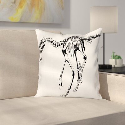 Dinosaur Skeleton Dead Predator Square Cushion Pillow Cover Size: 18 x 18