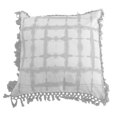 Orenstein Shibori Fringe Trim Throw Pillow Color: Vapor