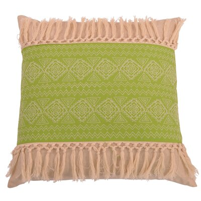 Orellana Embroidered Natural Fringe Throw Pillow Color: Dark Citron