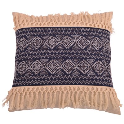Orellana Embroidered Natural Fringe Throw Pillow Color: Insignia Blue