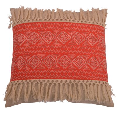 Orellana Embroidered Natural Fringe Throw Pillow Color: Rose of Sharon