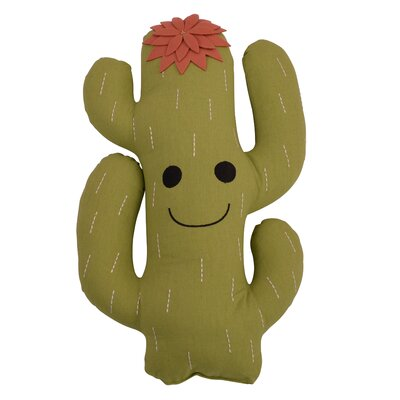 Hitz Cactus Shaped Embroidered Throw Pillow