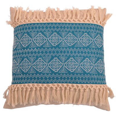 Orellana Embroidered Natural Fringe Throw Pillow Color: Capris Breeze