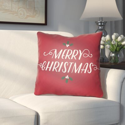 Morrell Merry Christmas Indoor/Outdoor Throw Pillow Size: 18 H x 18 W x 4 D, Color: Red