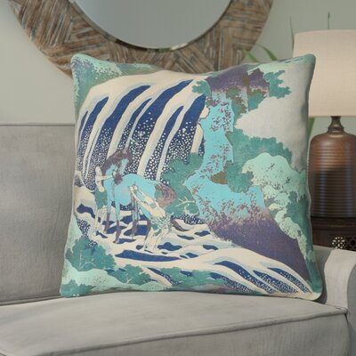 Channelle Horse and Waterfall Indoor Euro Pillow Color: Teal