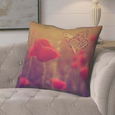 Mariani Butterfly and Rose Euro Pillow Color: Red