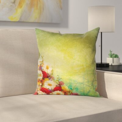 Romantic Flower Bouquet Square Pillow Cover Size: 24