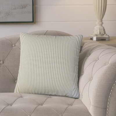 Melinda Stripes 18 Square Throw Pillow Cover Color: Sage