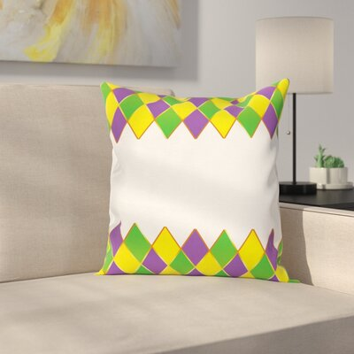 Mardi Gras Carnival Grid Square Cushion Pillow Cover Size: 16 x 16