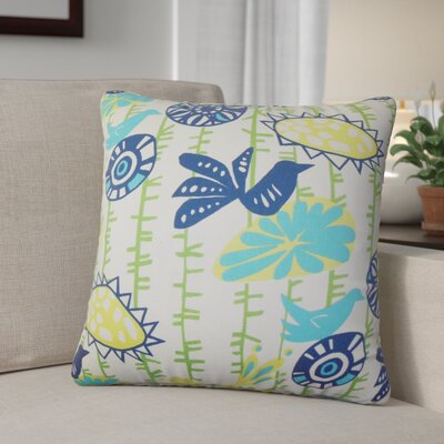 Patterson Floral Cotton Throw Pillow Cover Color: Yellow Blue