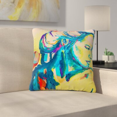 Cecibd Still Waiting II Abstract Outdoor Throw Pillow Size: 16 H x 16 W x 5 D