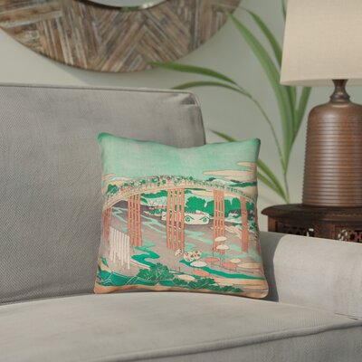 Clair Japanese Bridge Throw Pillow Color: Green/Peach, Size: 16 x 16