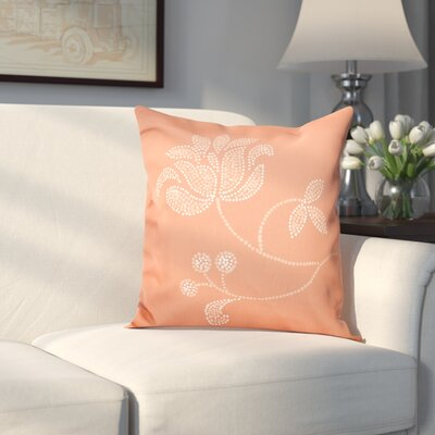 Maniteau Flower Bloom Print Throw Pillow Size: 16 H x 16 W, Color: Coral